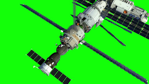 Increasing The Height Of The Orbit Of The Space Station. Green Screen Animation