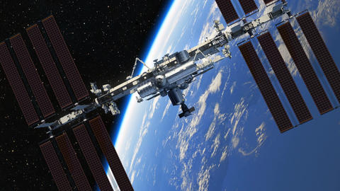 4K. Flight Of International Space Station On The Background Of Earth Animation