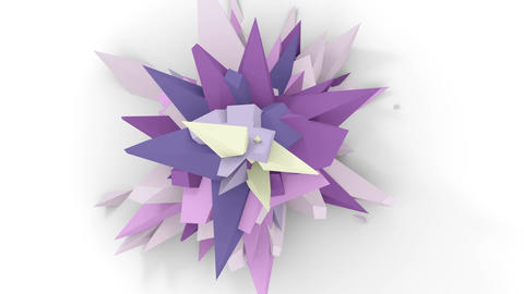4K. Abstract Digital Flower. Version With Pink, Grey And Purple Colors. Seamless Looped Animation