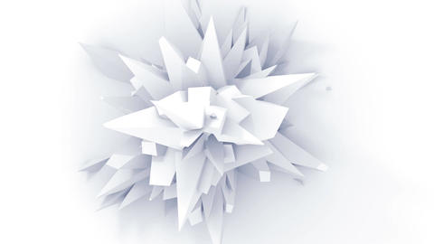 4K. White Abstract Digital Flower. Seamless Looped Animation