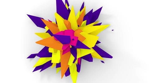 4K. Abstract Digital Flower. Version With Orange, Yellow And Pirple Colors. Seamless Looped Animation
