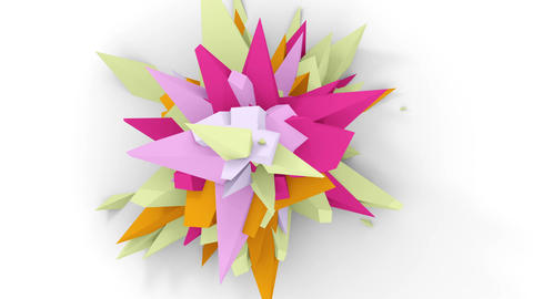 4K. Abstract Digital Flower. Version With Pink, Red And Green Colors. Seamless Looped Animation
