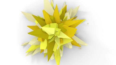 4K. Abstract Digital Flower. Version With Yellow And Green Colors. Seamless Looped Animation