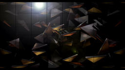 The three-dimensional triangle flies out of the animation background Animation