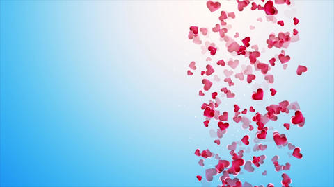 Beautiful blue background with falling hearts on Valentine's Day Animation