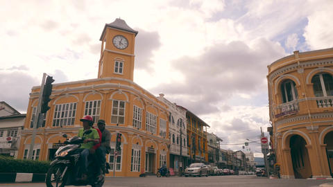 Timelapse: Famous Tourist Destination Phuket Old Town with Vintage Buildings. 4K Footage