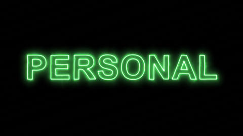 Neon flickering green text PERSONAL in the haze. Alpha channel Premultiplied - Animation
