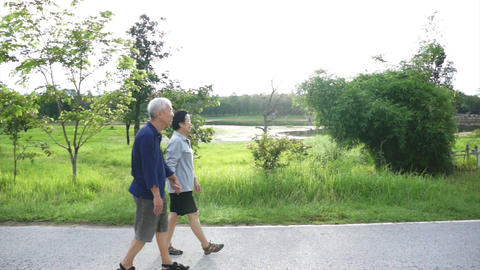 Happy Asian senior couple walking exercise along the lake. Abstract love health  Footage
