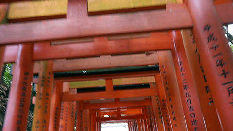 Red gate tori at Fushimi Inari temple shrine in Kyoto, Japan Footage