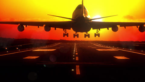 Airplane landing at sunset. Long-focus lens Animation