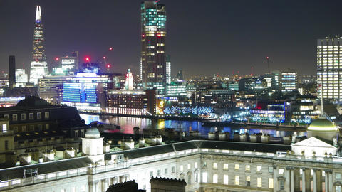 London skyline by night - time lapse Live Action