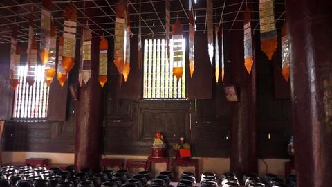 Video of Inside wooden Buddhist temple Footage