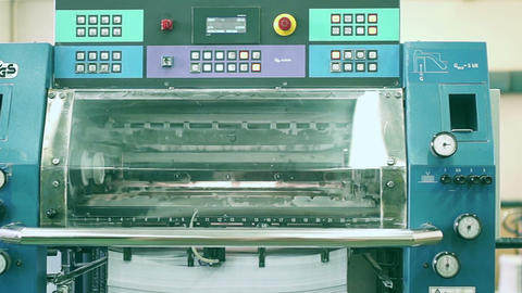 moving the camera printing machine in the printing industry Footage