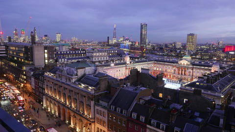 Aerial view over London and Somerset House Live Action