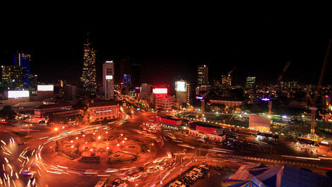 City Night Lights Traffic Lights around Circle from... Stock Video Footage