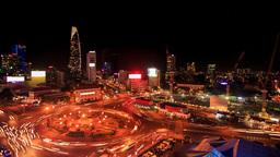 City Night Lights Traffic Lights around Circle from Skyscraper Footage