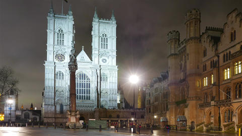 Westminster Abbey London - night time lapse shot Footage