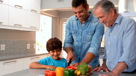 Family cutting vegetables together Live Action