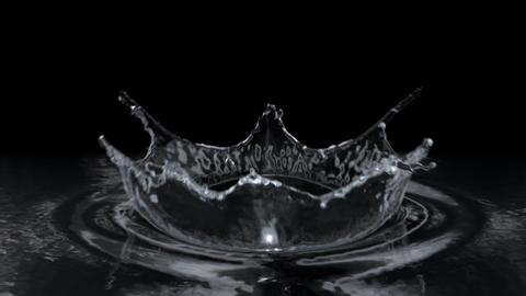 Water drop making splash on black background in slow motion Animation