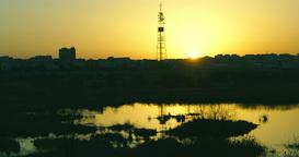 Twilight In The City.Sunset In Bucharest,Romania, In Vacaresti Delta, Time Lapse stock footage