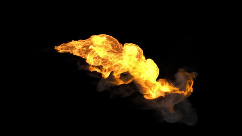 Realistic stream of fire like fire-breathing dragon's flames with alpha Animation