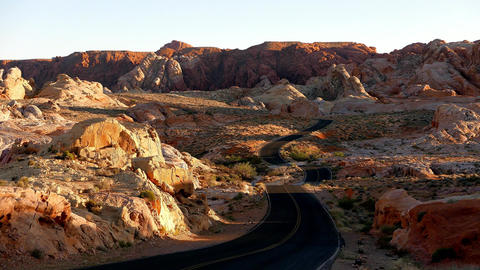 Long and winding road in the Valley of Fire National Park Footage