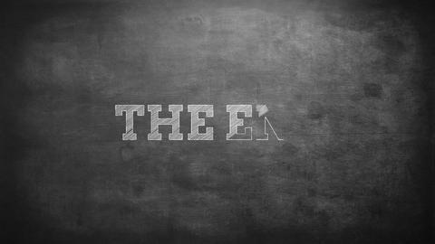 The end written on a blackboard Footage