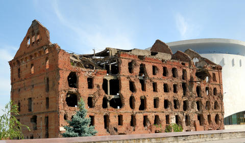 Museum - panorama Stalingrad fight - The destroyed mill. Volgogr フォト