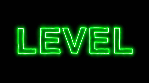 Neon flickering green text LEVEL in the haze. Alpha channel Premultiplied - Animation