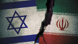 Israel vs Iran Flags on Cracked Wall Animation