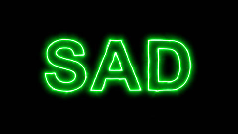 Neon flickering green text SAD in the haze. Alpha channel Premultiplied - Matted Animation