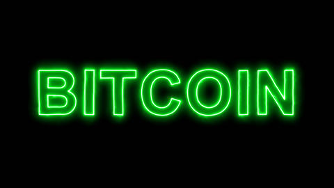 Neon flickering green crypto currency name BITCOIN in the haze. Alpha channel Animation