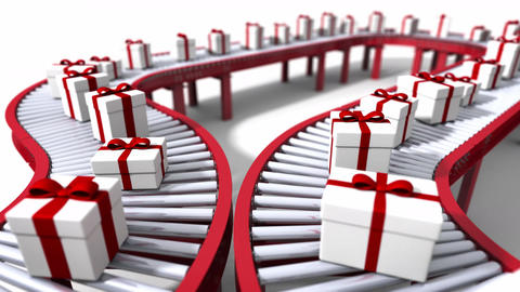 Conveyor Belts loaded With Christmas Packages Footage