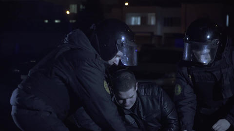 Police detain a criminal Footage