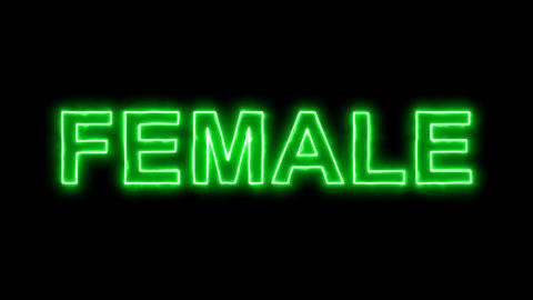 Neon flickering green text FEMALE in the haze. Alpha channel Premultiplied - Animation