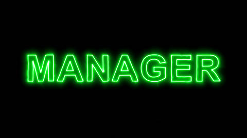 Neon flickering green text MANAGER in the haze. Alpha channel Premultiplied - Animation