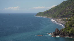 Seascape Cliffs, sea and waves at Bali, Indonesia Footage