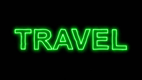 Neon flickering green text TRAVEL in the haze. Alpha channel Premultiplied - Animation