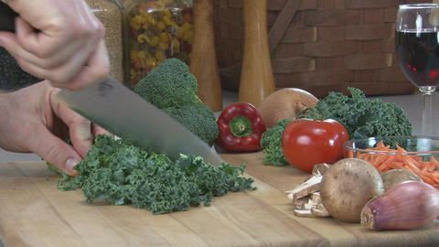 Chopping kale Footage