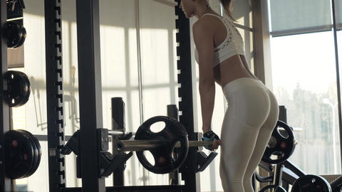 Young woman training incline with fitness equipment front of mirror on gym club Footage