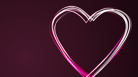 Heart shape drawing by pink color brush on dark purple background. Happy ビデオ