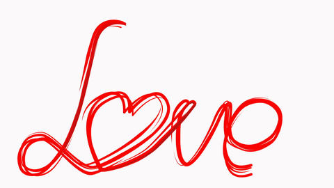 Hand draw love word paint brush animation. Red color heart at white background Live Action