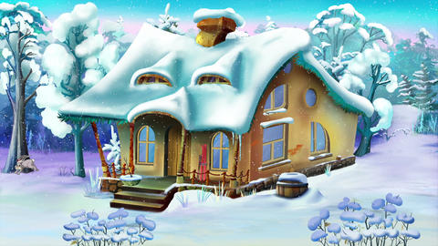 Small house in a winter forest Animation