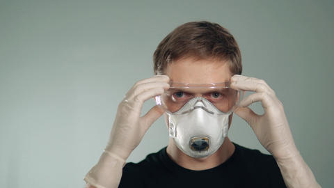 protection of eyes and respiratory system. mask on the face. preservation of Footage