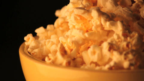 Spinning bowl of popcorn zoomed in Footage