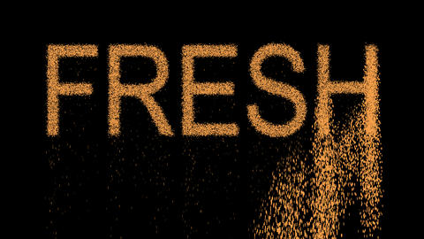 text FRESH appears from the sand, then crumbles. Alpha channel Premultiplied - Animation