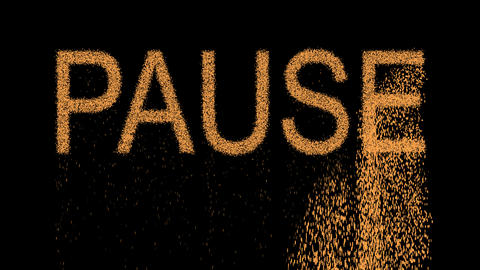 text PAUSE appears from the sand, then crumbles. Alpha channel Premultiplied - Animation