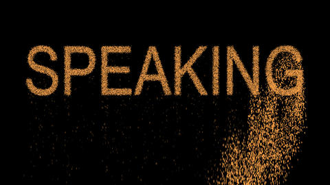 text SPEAKING appears from the sand, then crumbles. Alpha channel Premultiplied Animation