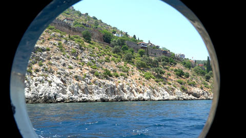 View Of The Coast Of The Mediterranean Sea Through The Porthole Of The Ship 1
