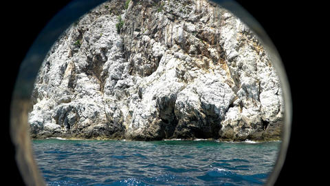View Of The Coast Of The Mediterranean Sea Through The Porthole Of The Ship 2